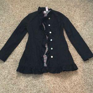 Jackets & Blazers - Black Ruffle Lightweight Jacket